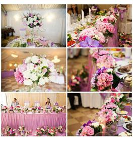 Композиции из живых цветов на стол молодоженов