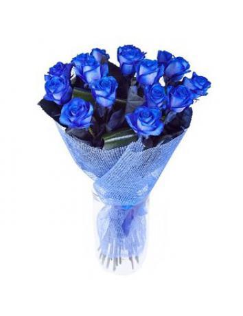 Букет из 15 синих роз.